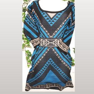 FLYING TOMATO medium tribal aztec sweater dress